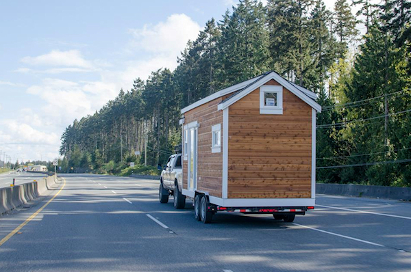 Tiny home being towed